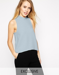 Closet Waffle Roll Neck Top With Dip Back Paleblue