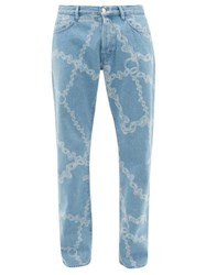 Aries Lilly Chain Print Straight Leg Jeans Blue