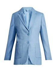 Max Mara Two Button Patch Pocket Suit Jacket Light Blue