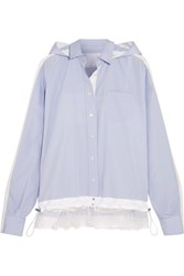 Sacai Lace Trimmed Poplin Hooded Shirt Light Blue