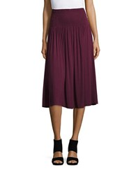 Lord And Taylor Petite Solid Smocked Skirt Purple