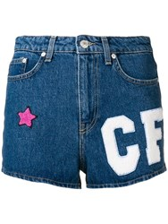 Chiara Ferragni Multi Patch Denim Shorts Blue