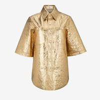 Bally Women's Leather Shirt In Gold Yellow