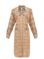 Burberry Patchwork House Check Silk Shirtdress Beige Multi