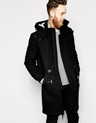 Asos Wool Fishtail Parka Jacket Black