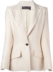 Jean Louis Scherrer Vintage Classic Single Button Blazer Nude And Neutrals
