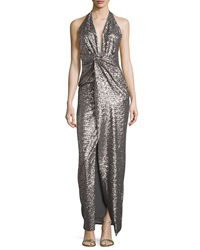 Halston Heritage Sequined Halter Gown With Front Slit Grey