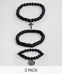 Aldo Black Bracelets With Charms In 3 Pack
