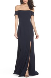 Amsale 'S Off The Shoulder Crepe Gown Navy