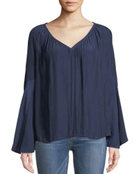 Ramy Brook Teagan V Neck Bell Sleeve Top Blue