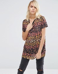 Asos T Shirt In Ombre Leopard With Piping Detail Multi