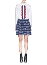 Tanya Taylor 'Frida' Graphic Embroidery Stripe Shirt Dress Multi Colour