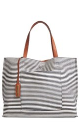 Street Level Reversible Stripe And Faux Leather Tote Blue