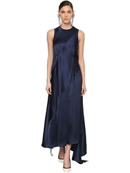 Loewe Asymmetric Back Cut Out Satin Dress Blue