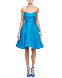 Monique Lhuillier Strapless Sweetheart Cocktail Dress With Bow Pacific Blue