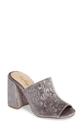Shellys Women's London Dalia Open Toe Mule Grey Velvet