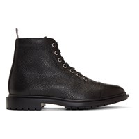 Thom Browne Black Toe Cap Lace Up Boots