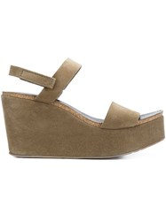 Pedro Garcia Wedge Sandals Brown