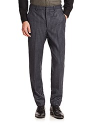 Ami Alexandre Mattiussi Striped Flannel Carrot Fit Pants Charcoal