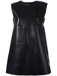 Cedric Charlier Leather Effect Shift Dress Black