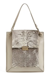 Jason Wu 'Christy' Leather And Genuine Shearling Tote Powder Grey
