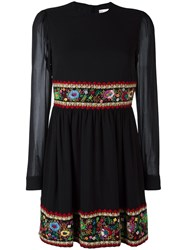 Red Valentino Floral Embroidery Dress Black