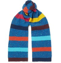 Paul Smith Striped Donegal Wool Scarf Blue