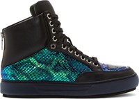 Alejandro Ingelmo Black And Iridescent Leather Jeddi High Top Sneakers