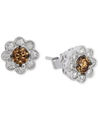 Le Vian Chocolatier Chocolate Deco Diamond Flower Stud Earrings 3 4 Ct. T.W. In 14K White Gold No Color