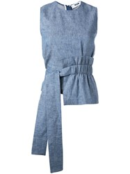 Msgm Pleat Detail Belted Sleeveless Blouse Blue