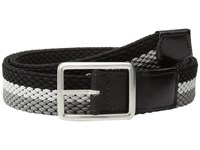 Torino Leather Co. 35Mm Italian Woven Tri Stripe Reversible Elastic Grey Nickle Black Men's Belts