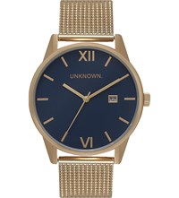 Unknown Un15da08 The Dandy Gold Toned Stainless Steel Watch Blue