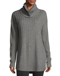 Three Dots Silk Cashmere Funnel Neck Cable Knit Tunic Light Gray