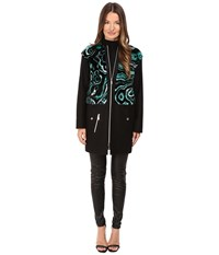 Versace Liquid Fur Wool Zip Jacket Foresta Women's Coat Black