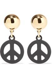 Moschino Gold Tone And Coated Metal Earrings One Size