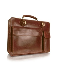 Chiarugi Handmade Brown Genuine Leather Double Gusset Briefcase Dark Brown