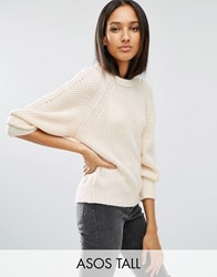 Asos Tall Jumper With Exaggerated Sleeve Cream