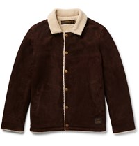 Neighborhood Faux Shearling Lined Suede Jacket Brown