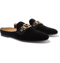 Versace Leather Trimmed Horsebit Velvet Backless Loafers Black