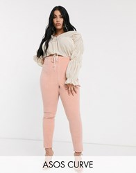 Asos Design Curve Rivington High Waisted Cord Jegging In Nude Beige