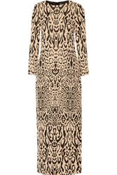Temperley London Long Honare Cloque Gown Leopard Print