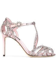 Dolce And Gabbana Embellished Satin Sandals Pink Purple