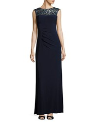 Xscape Evenings Beaded Sleeveless Gown Navy