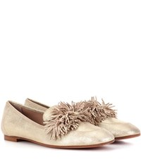 Aquazzura Wild Loafer Leather Ballerinas Metallic