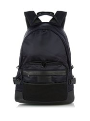 Ami Alexandre Mattiussi Leather Trimmed Nylon Backpack Navy