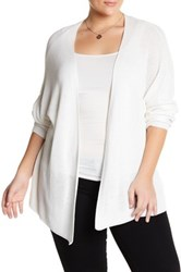 14Th And Union Open Knit Cardigan Plus Size White
