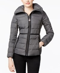 Michael Kors Packable Stand Collar Down Puffer Jacket Charcoal Flannel