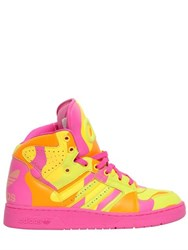 Adidas By Jeremy Scott Neon Camo Leather High Top Sneakers