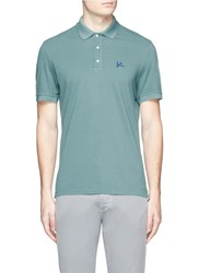 Isaia Coral Logo Embroidered Polo Shirt Green