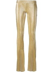 American Retro 'Anna' Ribbed Trousers Metallic